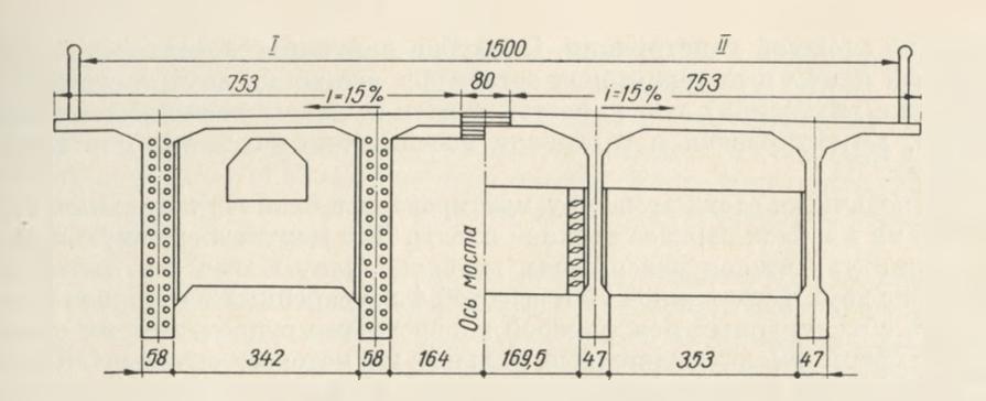 Поперечное сечение пролетного строения длиной 70,1м - stroyone.com