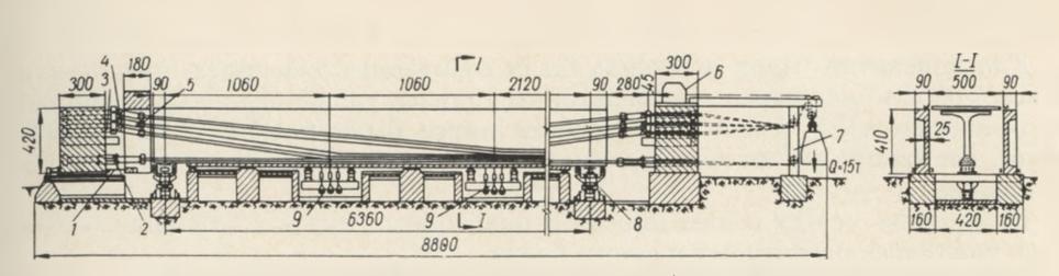 Схема стенда для изготовления балок длиной 65,4 метра - stroyone.com