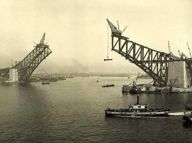Навесной монтаж арочного моста Харбр Бридж - stroyone.com