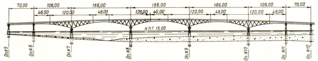Схема русловых пролетов моста через реку волга в Саратове - stroyone.com