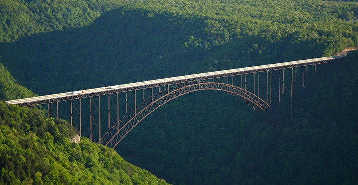 Арочный мост New River Gorge Bridge, West Virginia, 1978, пролет 518 м - stroyone.com