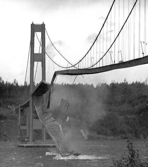 Висячий мост Tacoma Narrows Bridge 1940 - stroyone.com