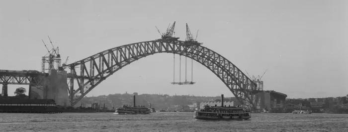 Строительство арочного моста методом навесного монтажа Sydney Harbor Bridge 1932 года с пролетом 503 м - stroyone.com