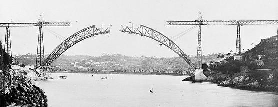 Строительство арочного моста Ponte Maria Pia - Portugal 1877 - stroyone.com