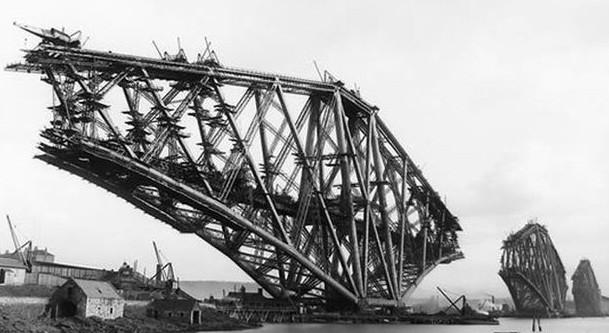 Строительство консольного металлического моста Forth Rail Bridge