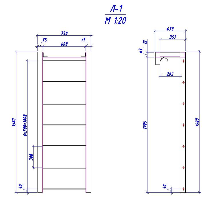 Металлическая лестница с уголка 75 высотой 1980мм - stroyone.com