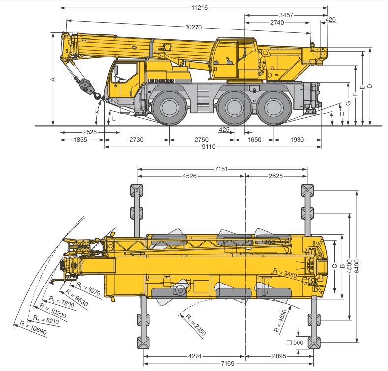 Габаритные размеры мобильного крана Liebherr LTM 1045-3.1 - stroyone.com