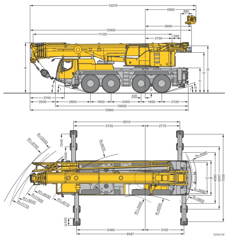 Габаритные размеры подъемного крана Liebherr LTM 1090-4.1 - stroyone.com