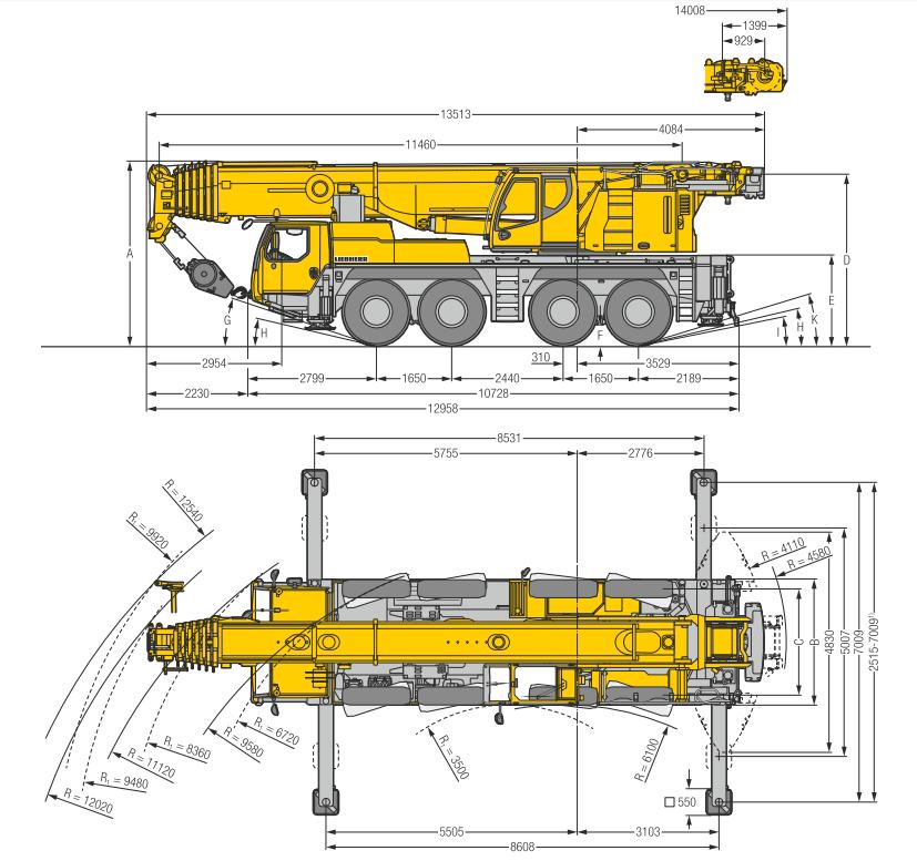 Габаритные размеры подъемного крана Liebherr LTM 1100-4.2 - stroyone