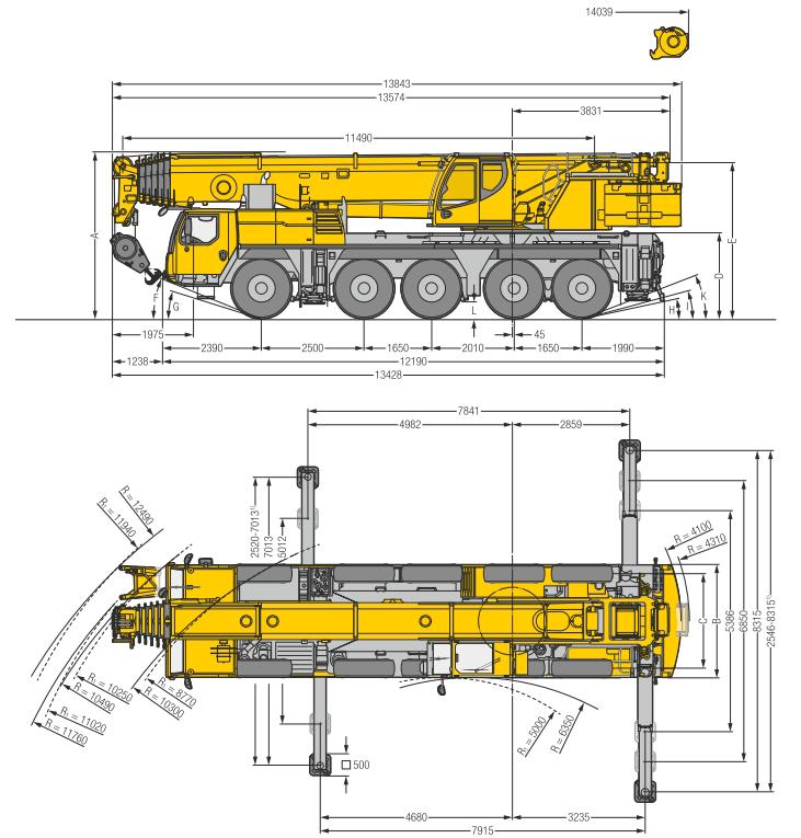 Габаритные размеры подъемного крана Liebherr LTM 1110-5.1 - stroyone.com