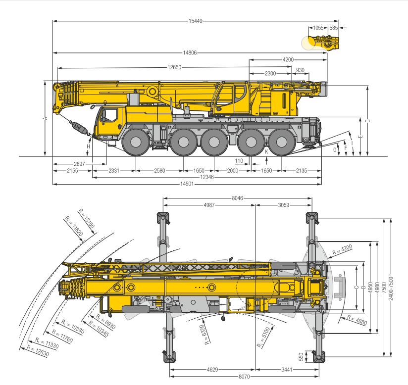 Габаритные размеры подъемного крана Liebherr LTM 1130-5.1 - stroyone.com