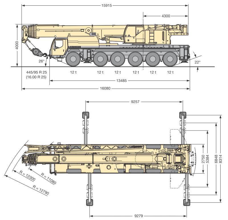 Габаритные размеры подъемного крана Liebherr LTM 1150-6.1 - stroyone.com