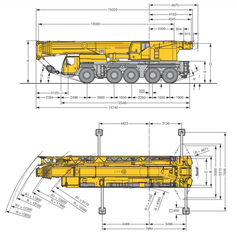 Габаритные размеры подъемного крана Liebherr LTM 1160-5.1 - stroyone.com