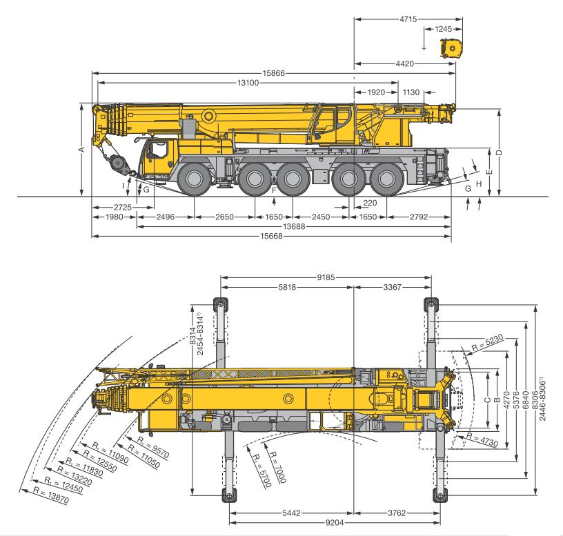 Габаритные размеры подъемного крана Liebherr LTM 1160-5.2 - stroyone.com
