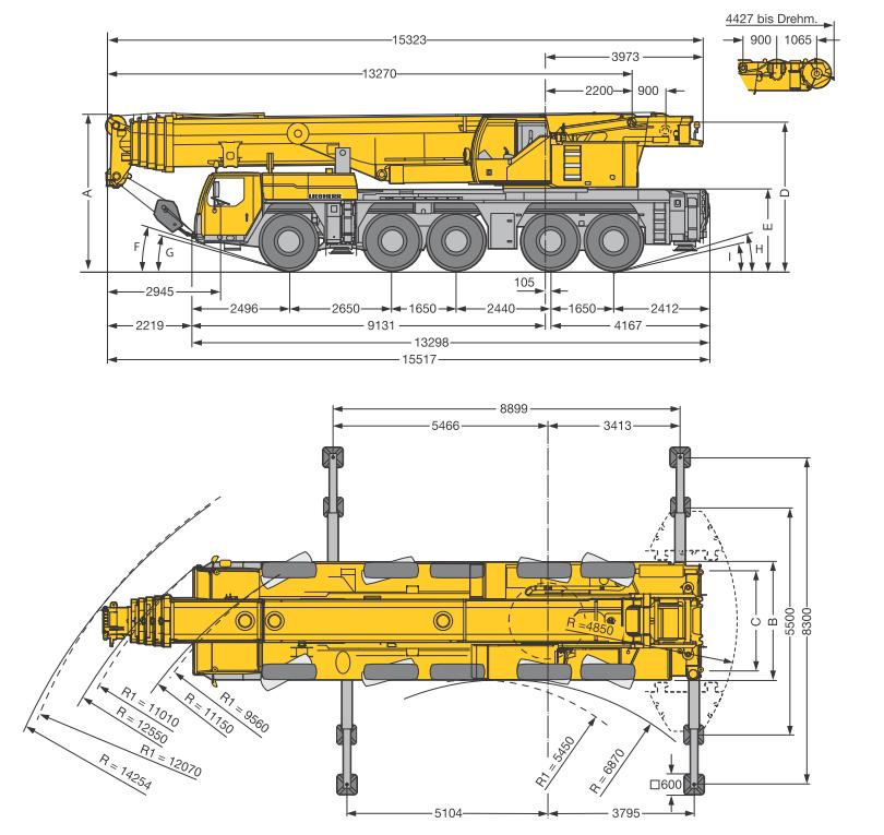 Габаритные размеры подъемного крана Liebherr LTM 1220-5.2 - stroyone.com