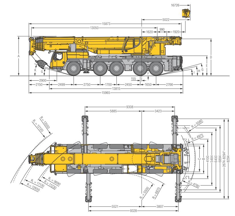 Габаритные размеры подъемного крана Liebherr LTM 1250-5.1 - stroyone.com