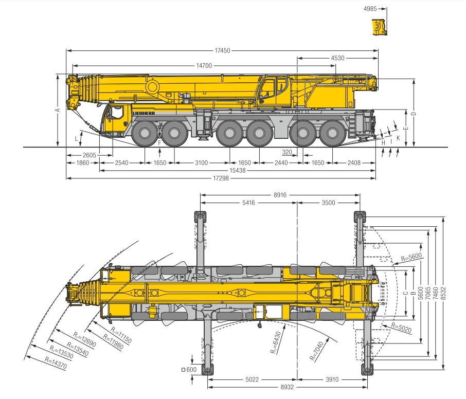 Габаритные размеры подъемного крана Liebherr LTM 1300-6.2 - stroyone.com