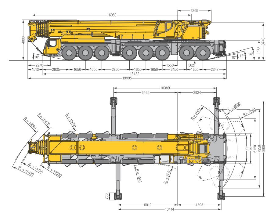 Габаритные размеры подъемного крана Liebherr LTM 1450-8.1 - stroyone.com