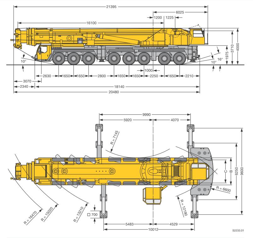 Габаритные размеры мобильного крана Liebherr LTM 1500-8.1 - stroyone
