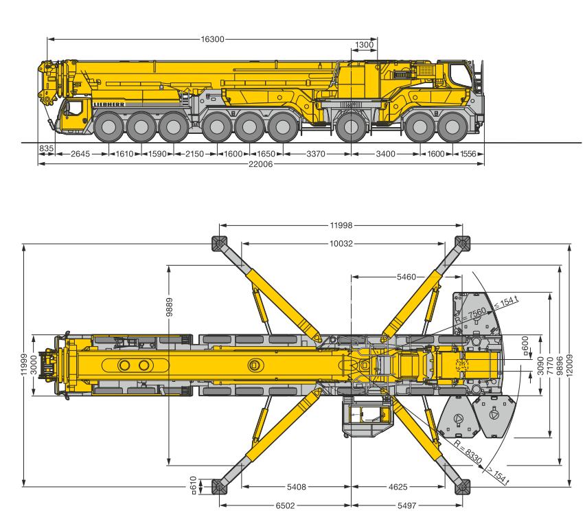 Габаритные размеры подъемного крана Liebherr LTM 1750-9.1 - stroyone.com