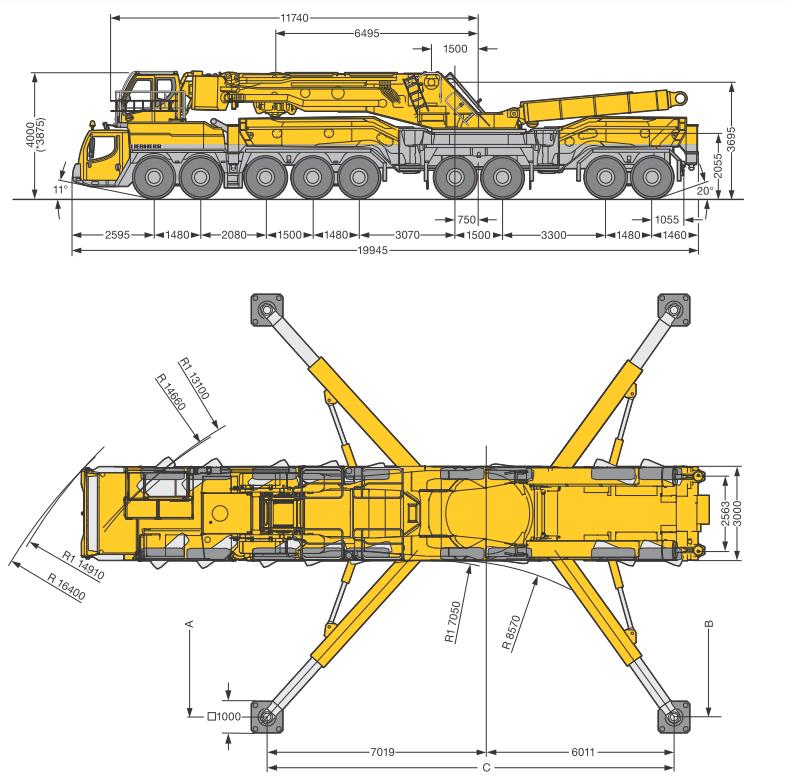 Габаритные размеры подъемного крана Liebherr LTM 11200-9.1 - stroyone.com