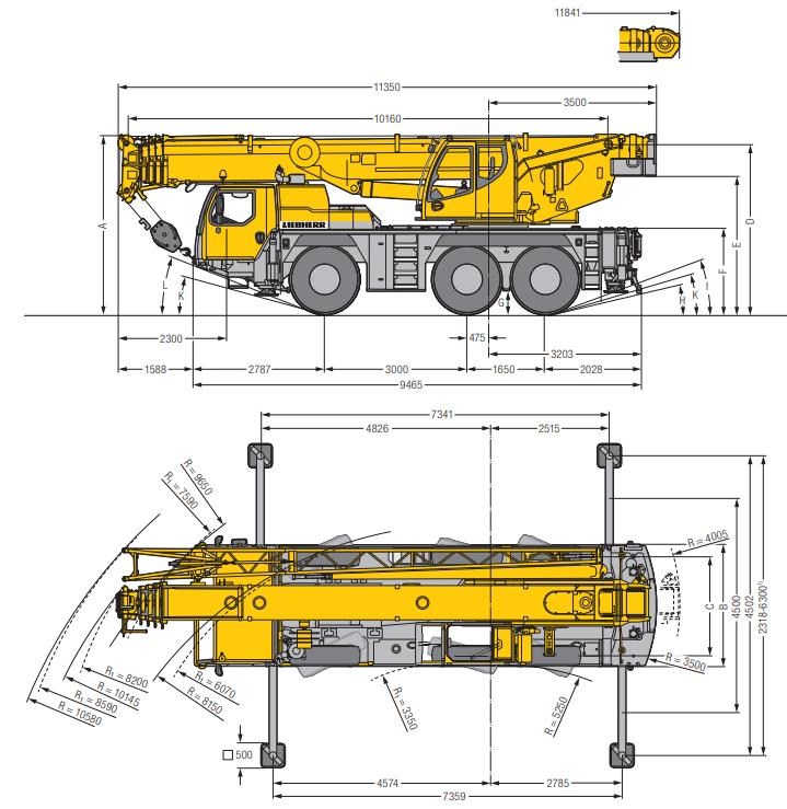 Габаритные размеры мобильного крана Liebherr LTM 1055-3.2 - stroyone