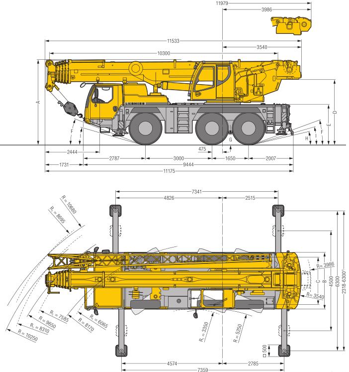 Габаритные размеры мобильного крана Liebherr LTM 1060-3.1 - stroyone