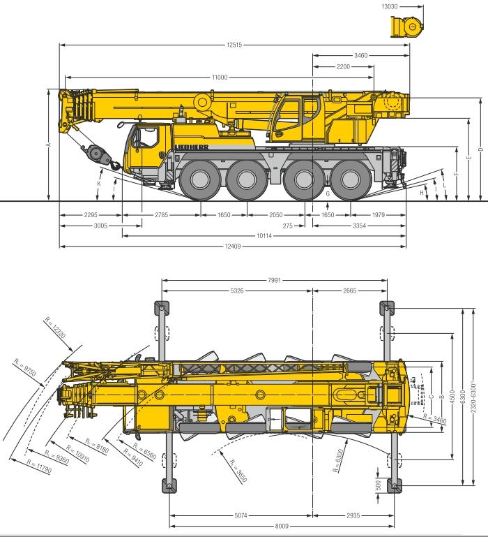 Габаритные размеры подъемного крана Liebherr LTM 1070-4.2 - stroyone