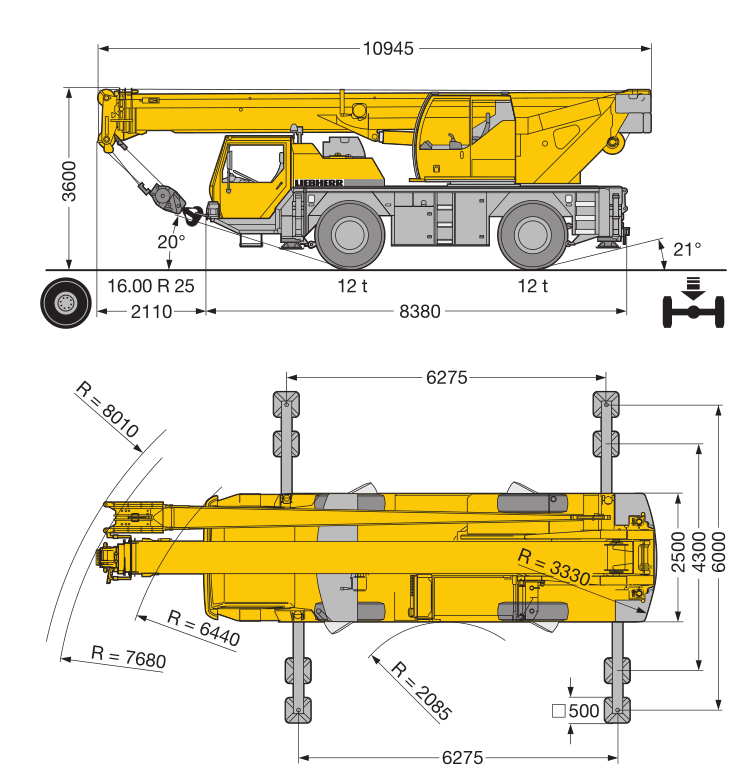 Габаритные размеры мобильного крана Liebherr LTM 1030-2.1 - stroyone