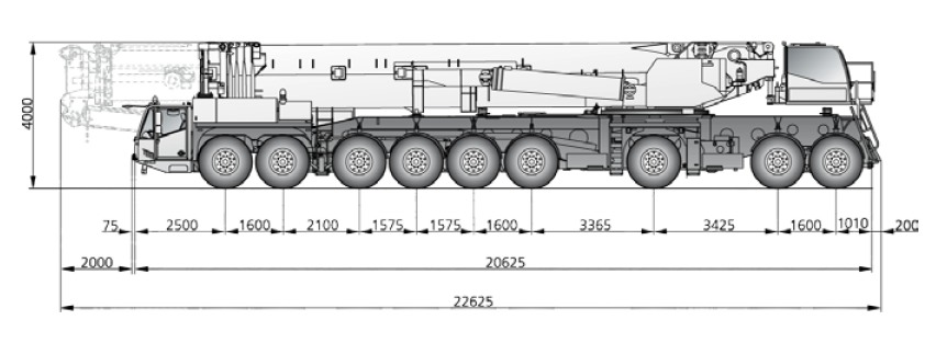 Габаритные размеры автокрана DEMAG AC 1000-9 - stroyone.com