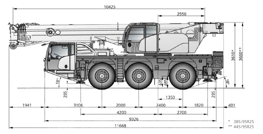 Габаритные размеры автокрана DEMAG AC 60-3 - stroyone.com