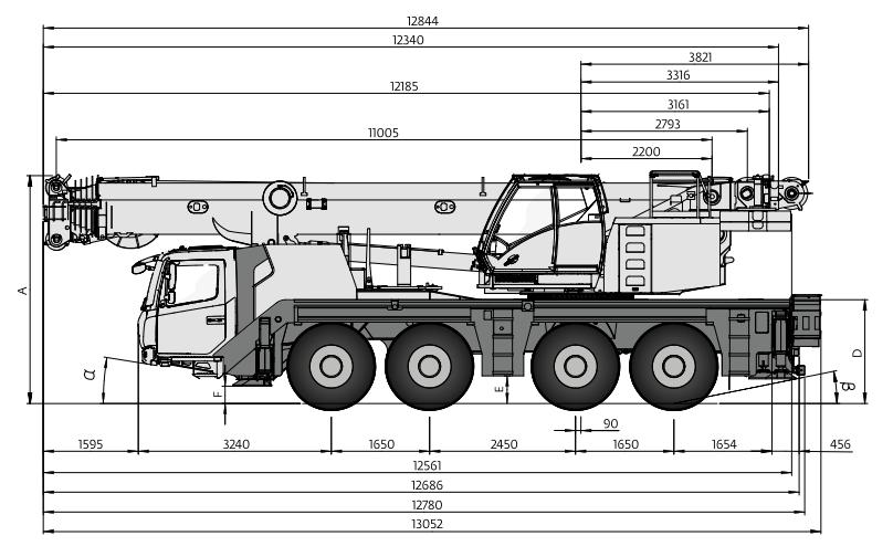 Габаритные размеры автокрана Grove GMK4090 - stroyone.com
