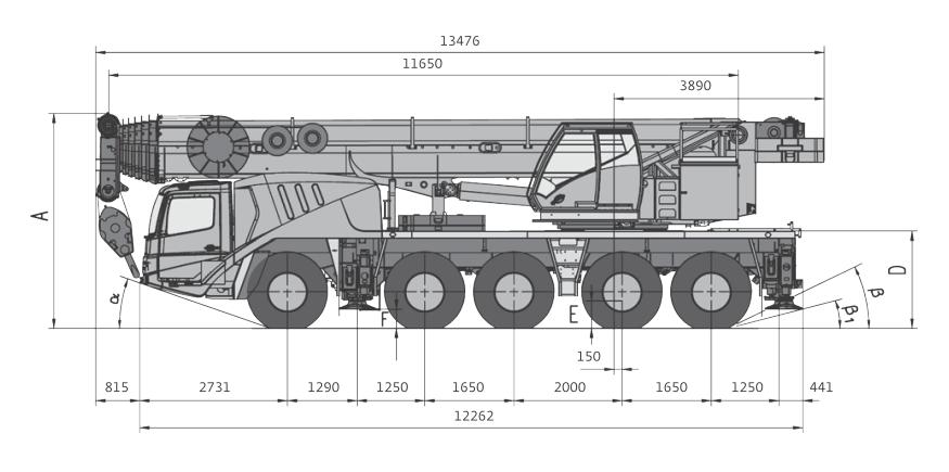 Габаритные размеры автокрана Grove GMK5095 - stroyone.com