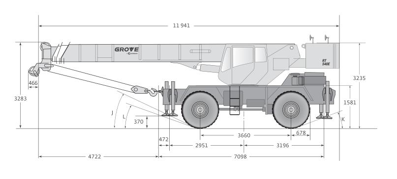 Габаритные размеры автокрана Grove RT540E - stroyone.com