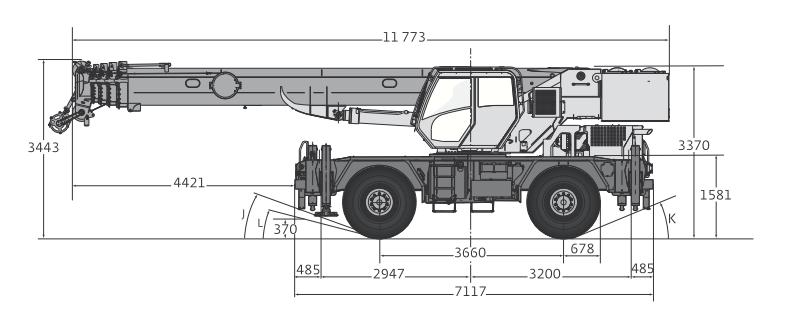 Габаритные размеры автокрана Grove RT550E - stroyone.com
