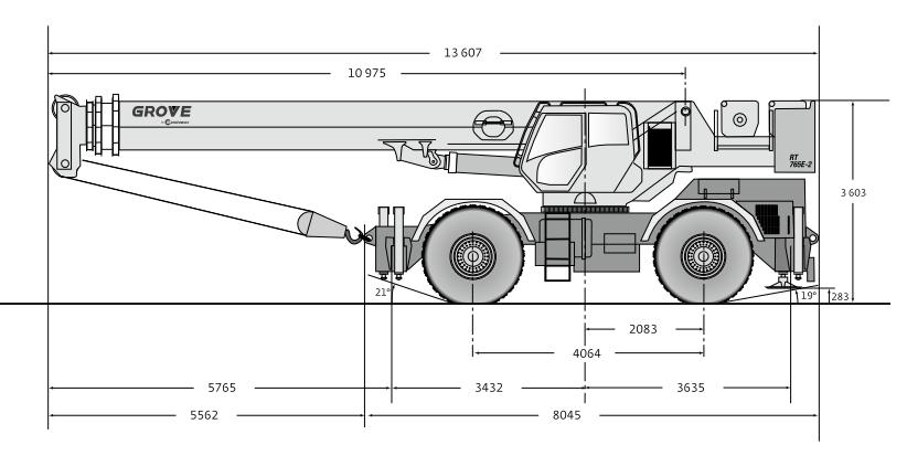 Габаритные размеры автокрана Grove RT765E-2 - stroyone.com