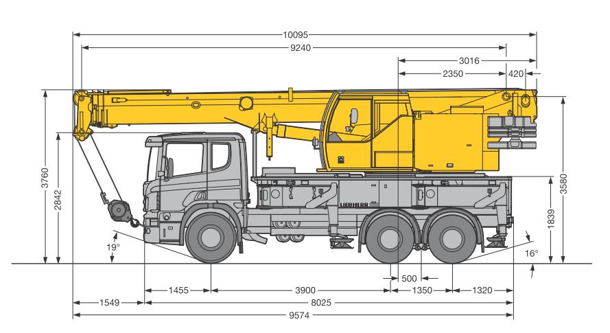 Габаритные размеры автокрана Liebherr LTF 1035-3.1 - stroyone.com