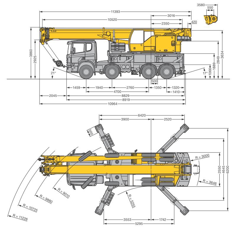 Габаритные размеры автокрана Liebherr LTF 1045-4.1 - stroyone.com