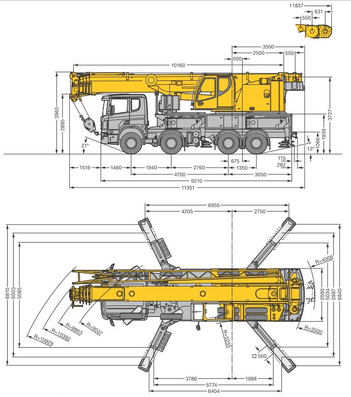 Габаритные размеры автокрана Liebherr LTF 1060-4.1 - stroyone.com