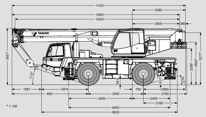 Габаритные размеры автокрана Tadano ATF 40G-2 - stroyone.com