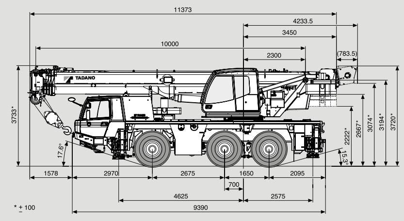 Габаритные размеры автокрана Tadano ATF 50G-3 - stroyone.com
