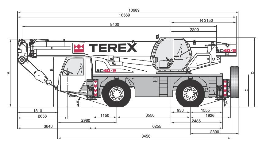 Габаритные размеры автокрана Terex AC40-2 - stroyone.com