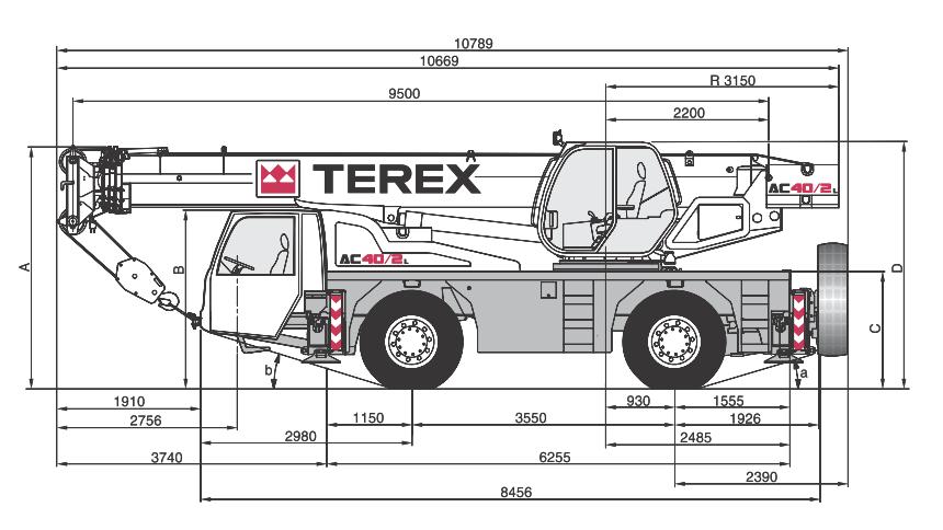 Габаритные размеры автокрана Terex AC40-2L - stroyone.com