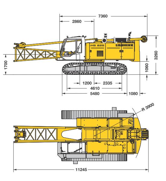 Габаритные размеры гусеничного крана Liebherr HS 825 HD - stroyone.com