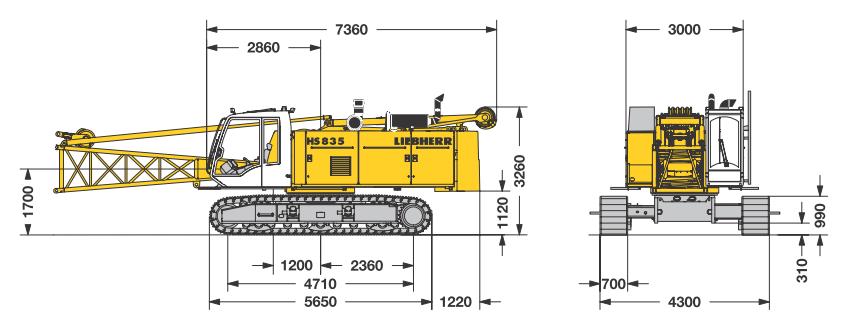 Габаритные размеры гусеничного крана Liebherr HS 835 HD - stroyone.com