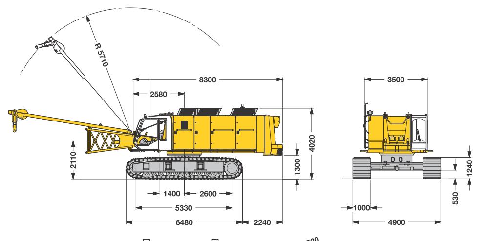 Габаритные размеры гусеничного крана Liebherr HS 875 HD - stroyone.com