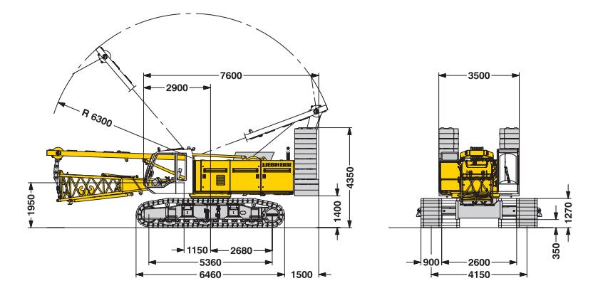Габаритные размеры гусеничного крана Liebherr LR 1100 - stroyone.com