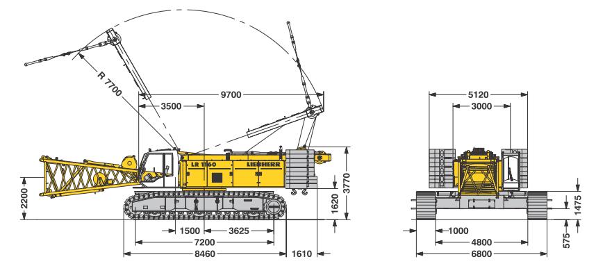 Габаритные размеры гусеничного крана Liebherr LR 1160 - stroyone.com