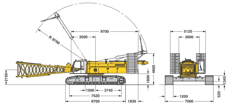 Габаритные размеры гусеничного крана Liebherr LR 1200 SX - stroyone.com