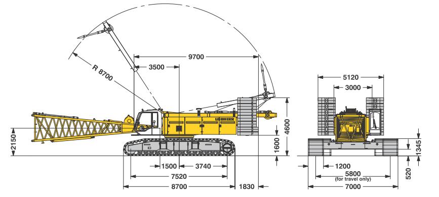 Габаритные размеры гусеничного крана Liebherr LR 1200 - stroyone.com
